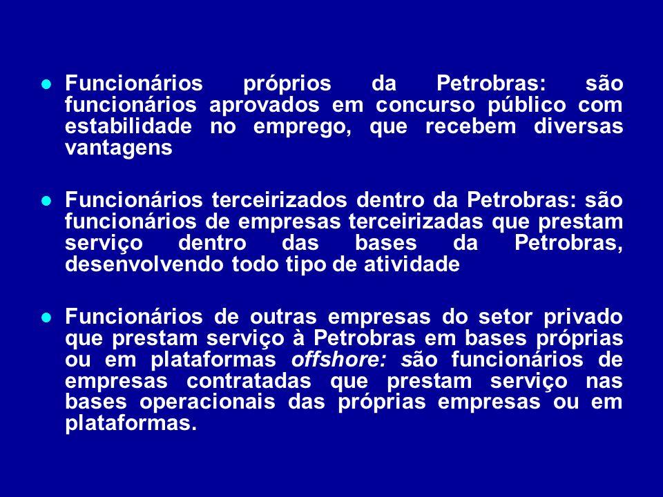 Funcionários próprios da Petrobras: são funcionários aprovados em concurso público com estabilidade no emprego, que recebem diversas vantagens