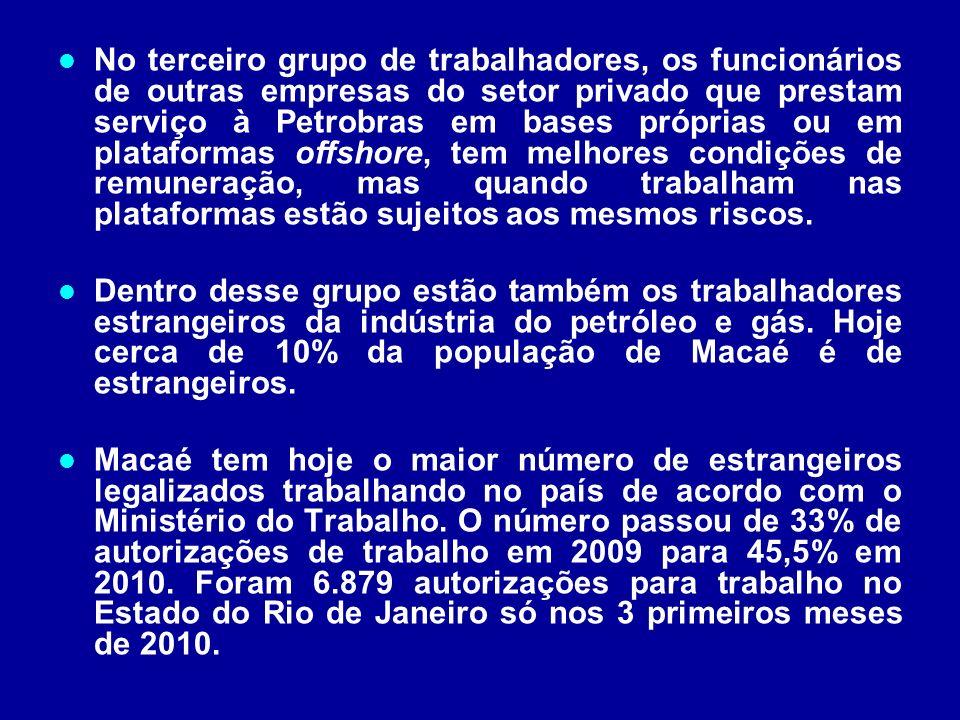 No terceiro grupo de trabalhadores, os funcionários de outras empresas do setor privado que prestam serviço à Petrobras em bases próprias ou em plataformas offshore, tem melhores condições de remuneração, mas quando trabalham nas plataformas estão sujeitos aos mesmos riscos.