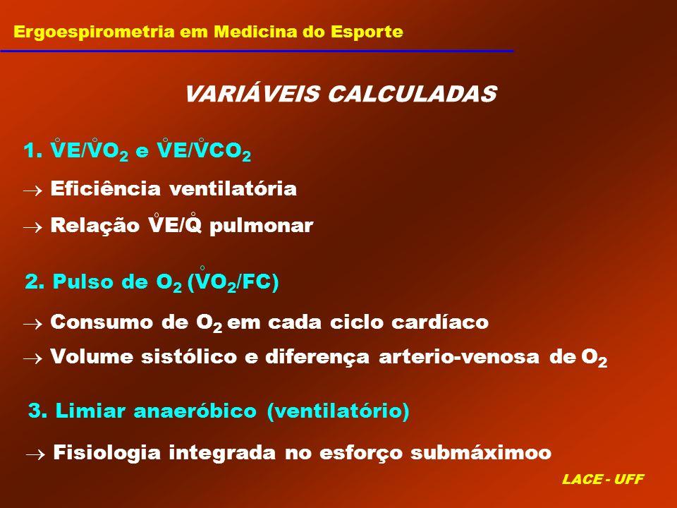 VARIÁVEIS CALCULADAS 1. VE/VO2 e VE/VCO2  Eficiência ventilatória