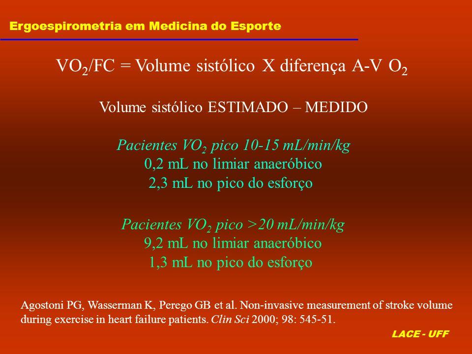 VO2/FC = Volume sistólico X diferença A-V O2