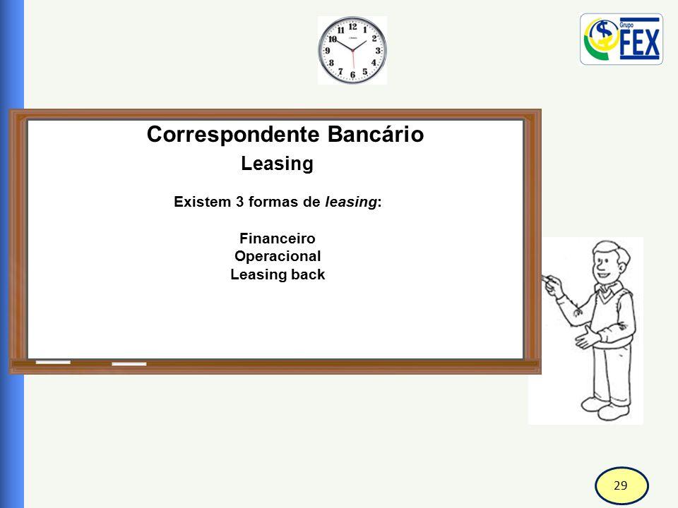 Correspondente Bancário Existem 3 formas de leasing: