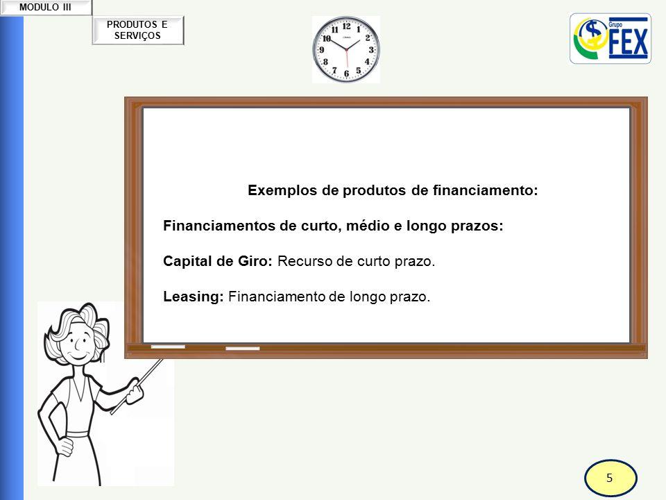 Correspondente Bancário Exemplos de produtos de financiamento: