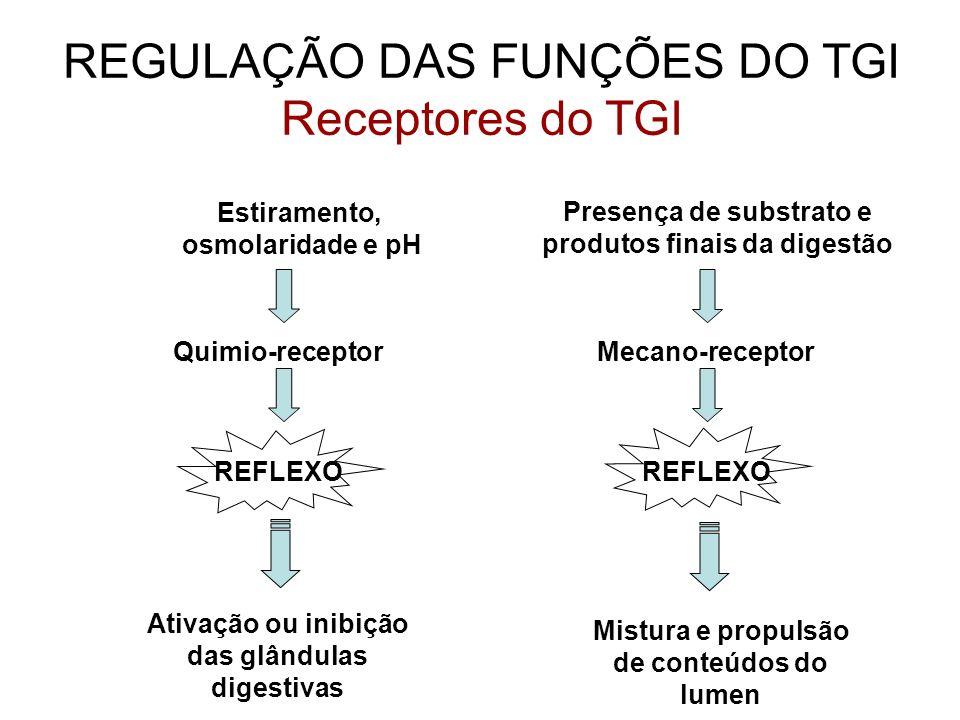 REGULAÇÃO DAS FUNÇÕES DO TGI Receptores do TGI