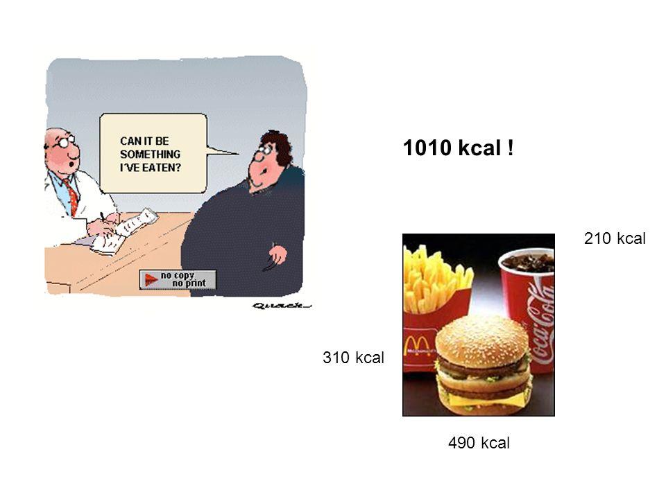 1010 kcal ! 210 kcal 310 kcal 490 kcal