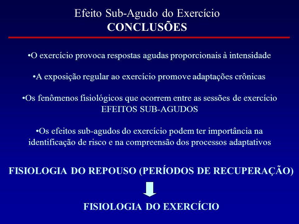 Efeito Sub-Agudo do Exercício CONCLUSÕES
