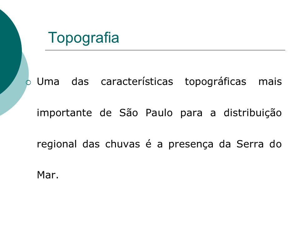 Topografia Uma das características topográficas mais importante de São Paulo para a distribuição regional das chuvas é a presença da Serra do Mar.