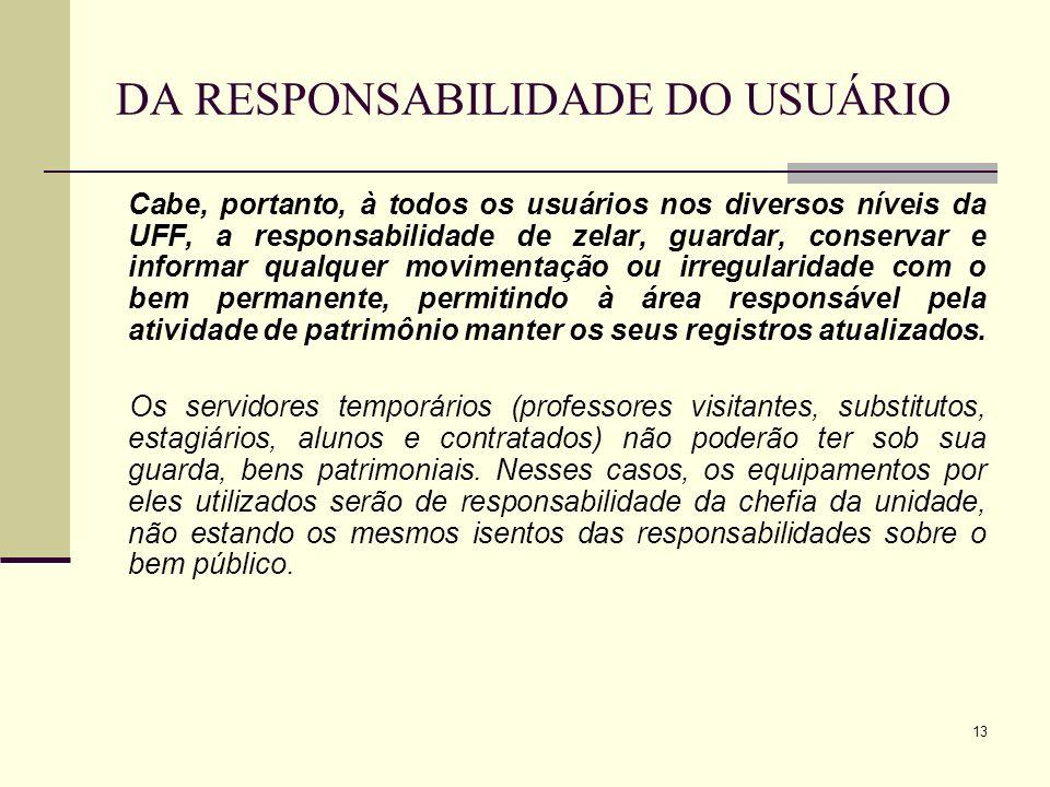 DA RESPONSABILIDADE DO USUÁRIO