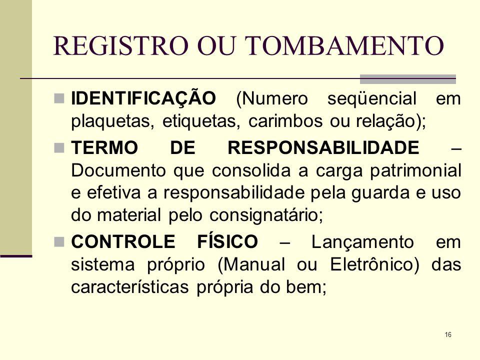 REGISTRO OU TOMBAMENTO