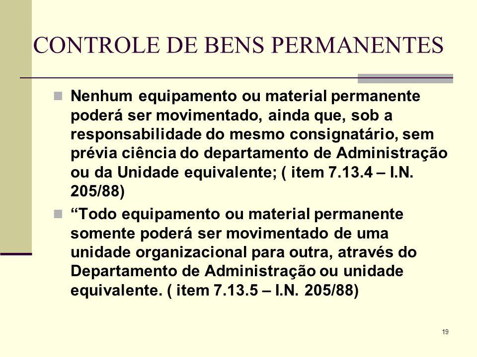 CONTROLE DE BENS PERMANENTES