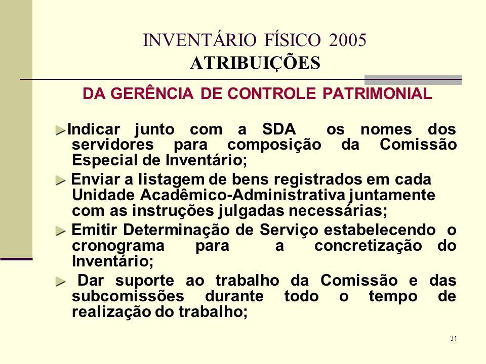 INVENTÁRIO FÍSICO 2005 ATRIBUIÇÕES
