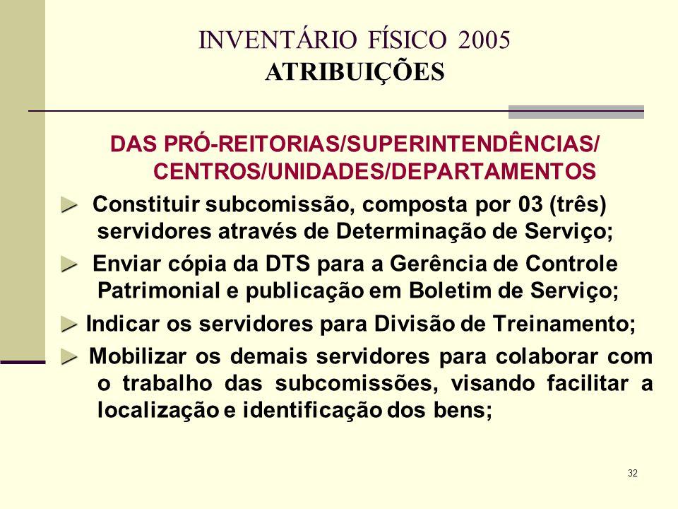 DAS PRÓ-REITORIAS/SUPERINTENDÊNCIAS/ CENTROS/UNIDADES/DEPARTAMENTOS