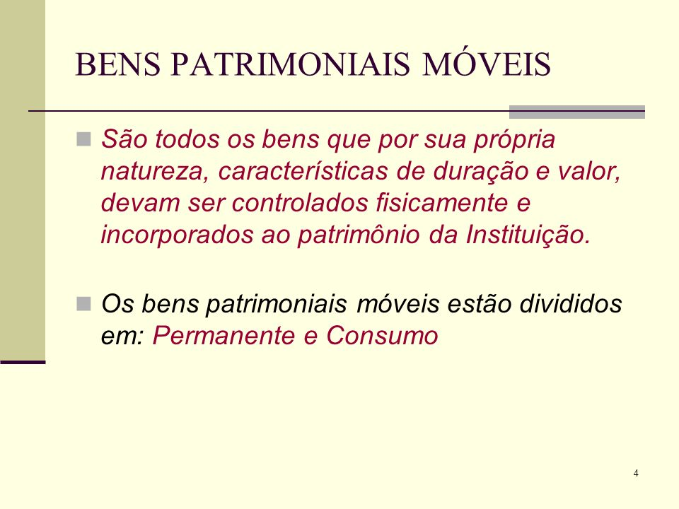 BENS PATRIMONIAIS MÓVEIS