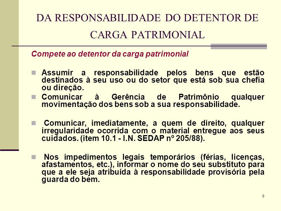 DA RESPONSABILIDADE DO DETENTOR DE CARGA PATRIMONIAL