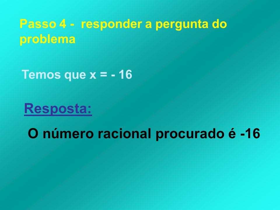 O número racional procurado é -16