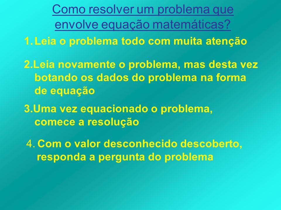 Como resolver um problema que envolve equação matemáticas