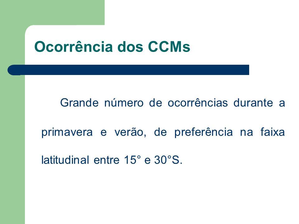 Ocorrência dos CCMsGrande número de ocorrências durante a primavera e verão, de preferência na faixa latitudinal entre 15° e 30°S.