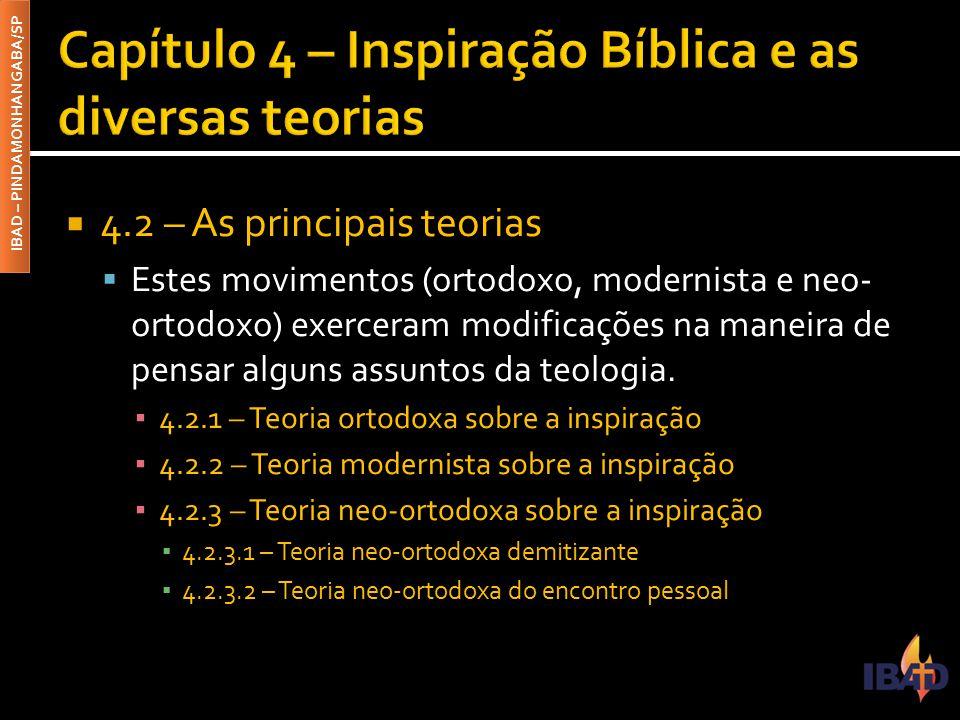 Capítulo 4 – Inspiração Bíblica e as diversas teorias