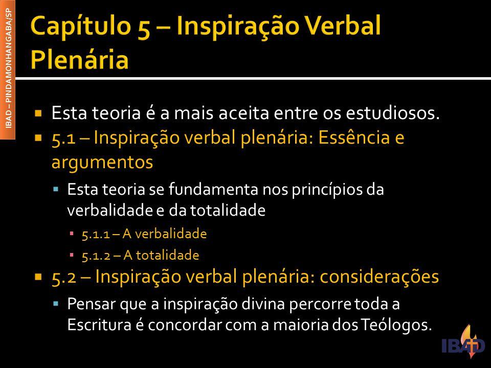 Capítulo 5 – Inspiração Verbal Plenária