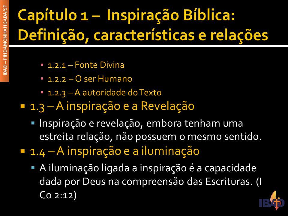 Capítulo 1 – Inspiração Bíblica: Definição, características e relações
