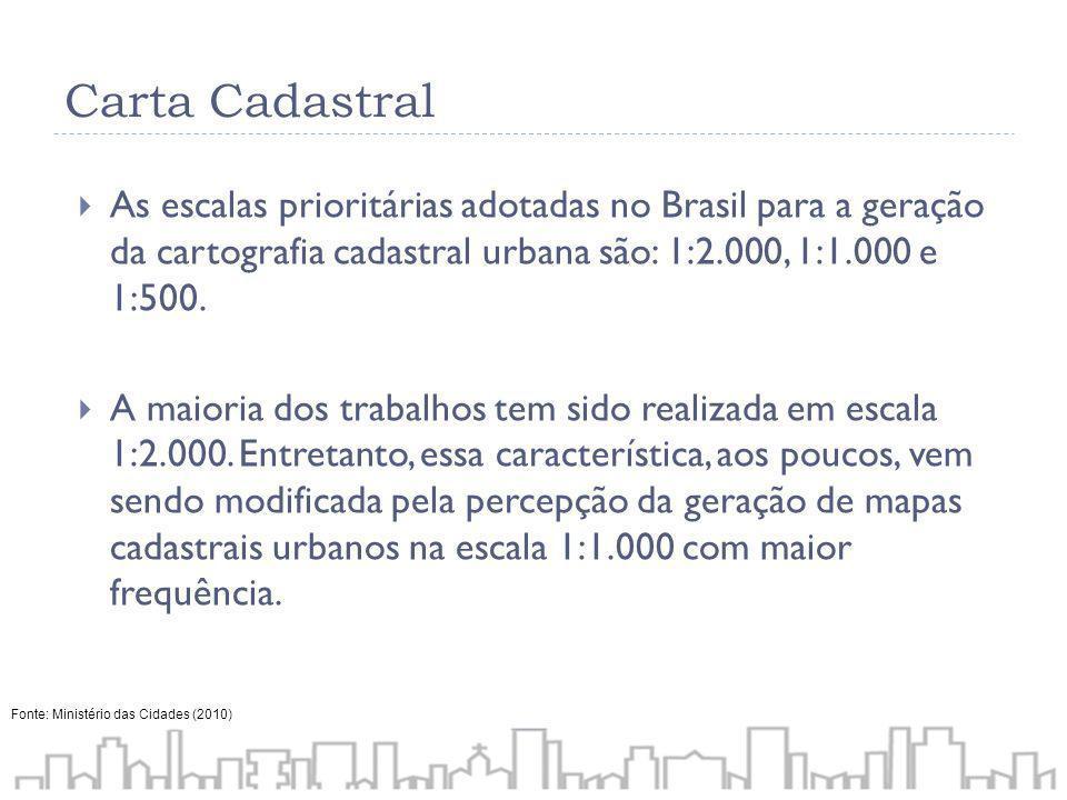 Carta CadastralAs escalas prioritárias adotadas no Brasil para a geração da cartografia cadastral urbana são: 1:2.000, 1:1.000 e 1:500.