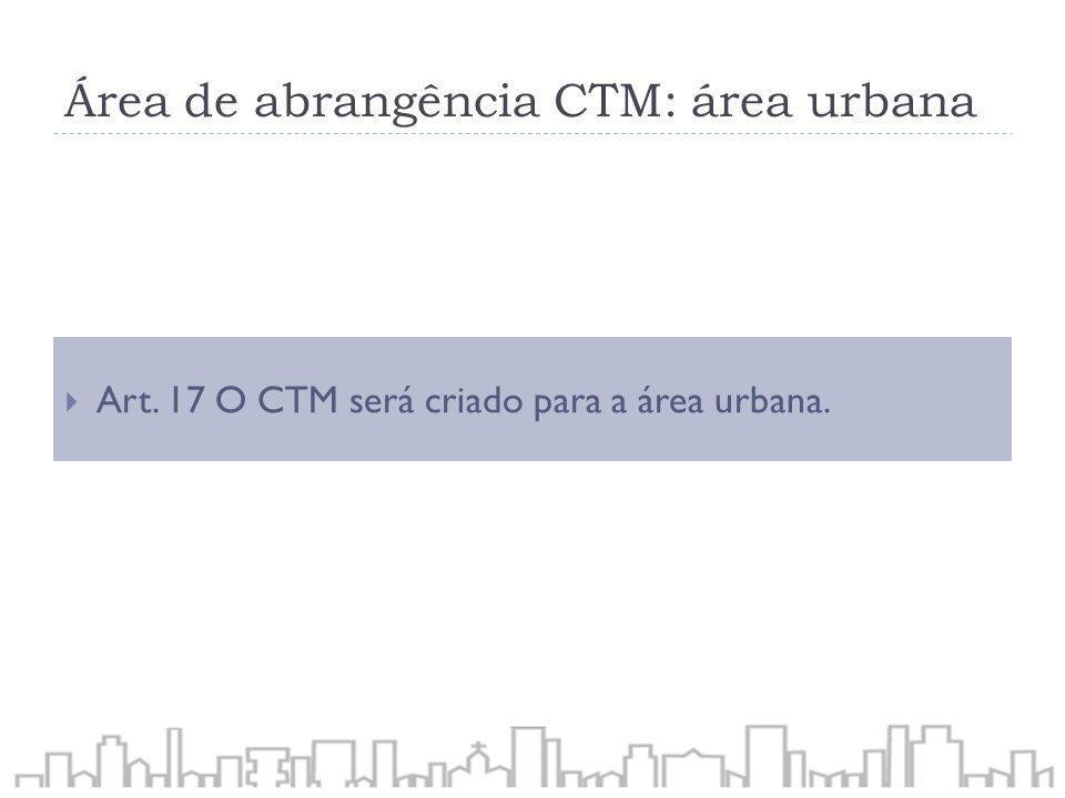 Área de abrangência CTM: área urbana