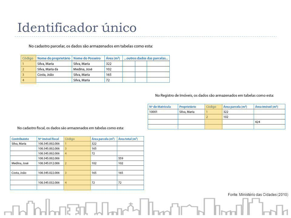 Identificador único Fonte: Ministério das Cidades (2010)