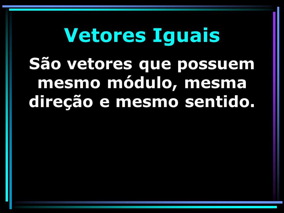 São vetores que possuem mesmo módulo, mesma direção e mesmo sentido.