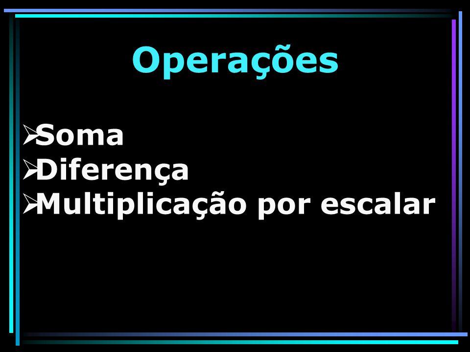 Operações Soma Diferença Multiplicação por escalar