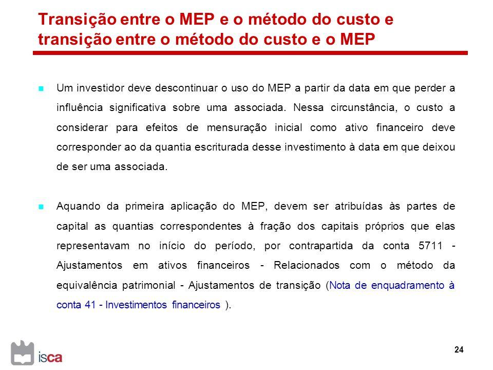 Transição entre o MEP e o método do custo e transição entre o método do custo e o MEP