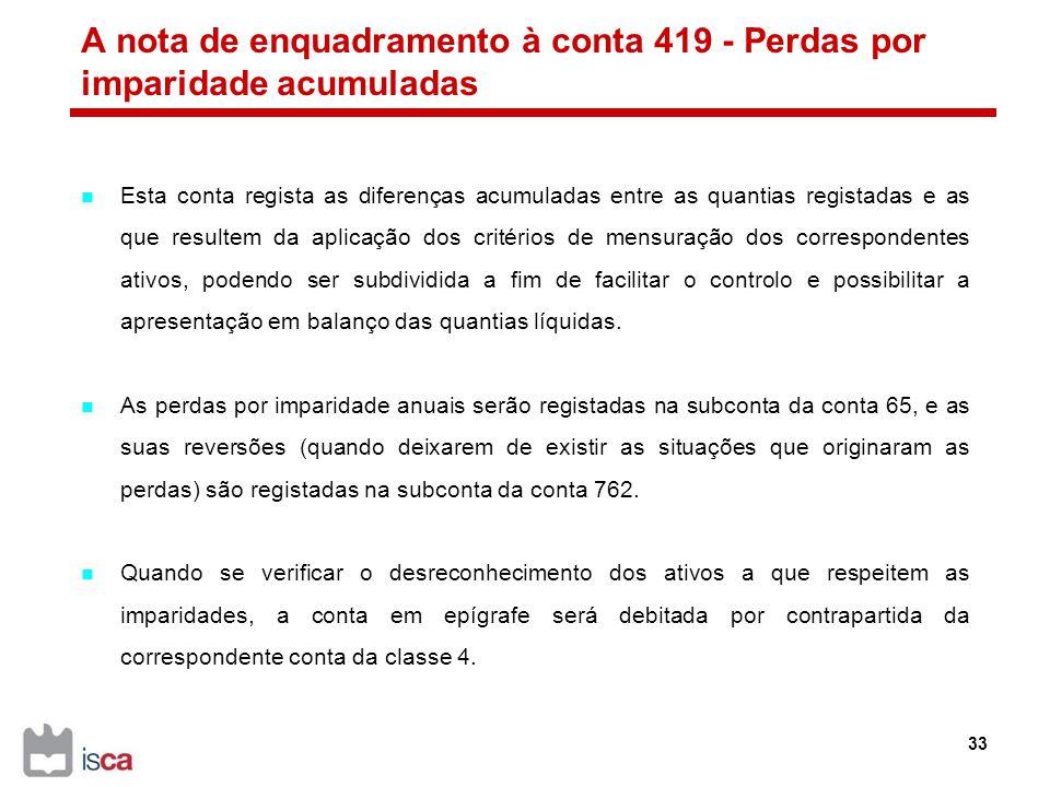 A nota de enquadramento à conta 419 - Perdas por imparidade acumuladas