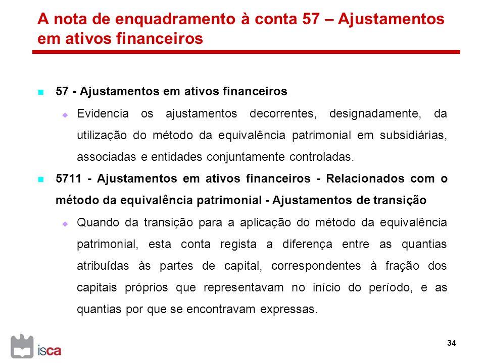A nota de enquadramento à conta 57 – Ajustamentos em ativos financeiros
