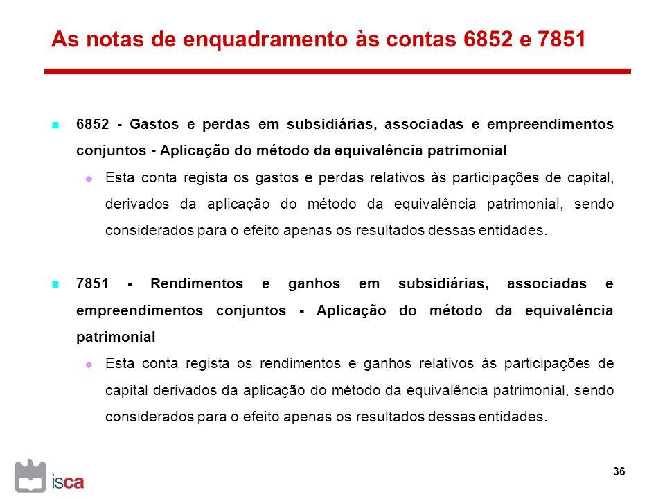 As notas de enquadramento às contas 6852 e 7851