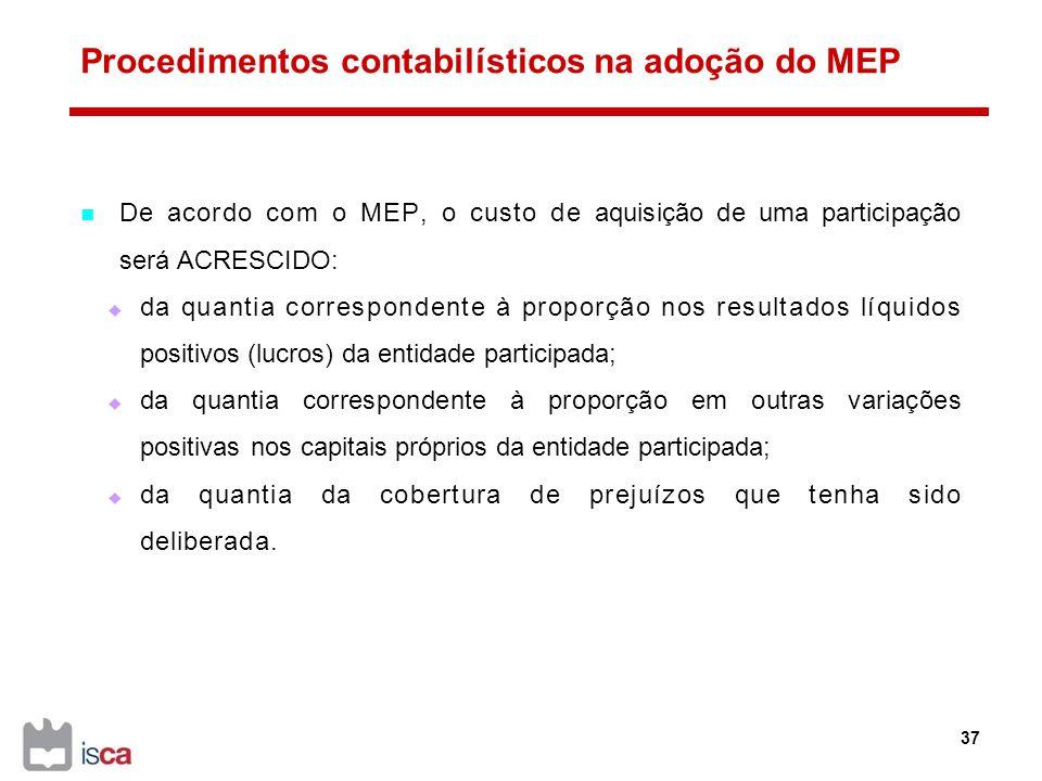 Procedimentos contabilísticos na adoção do MEP