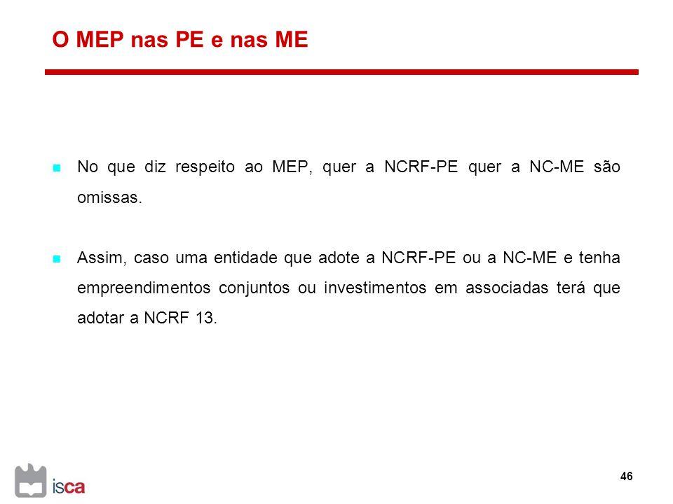 O MEP nas PE e nas ME No que diz respeito ao MEP, quer a NCRF-PE quer a NC-ME são omissas.