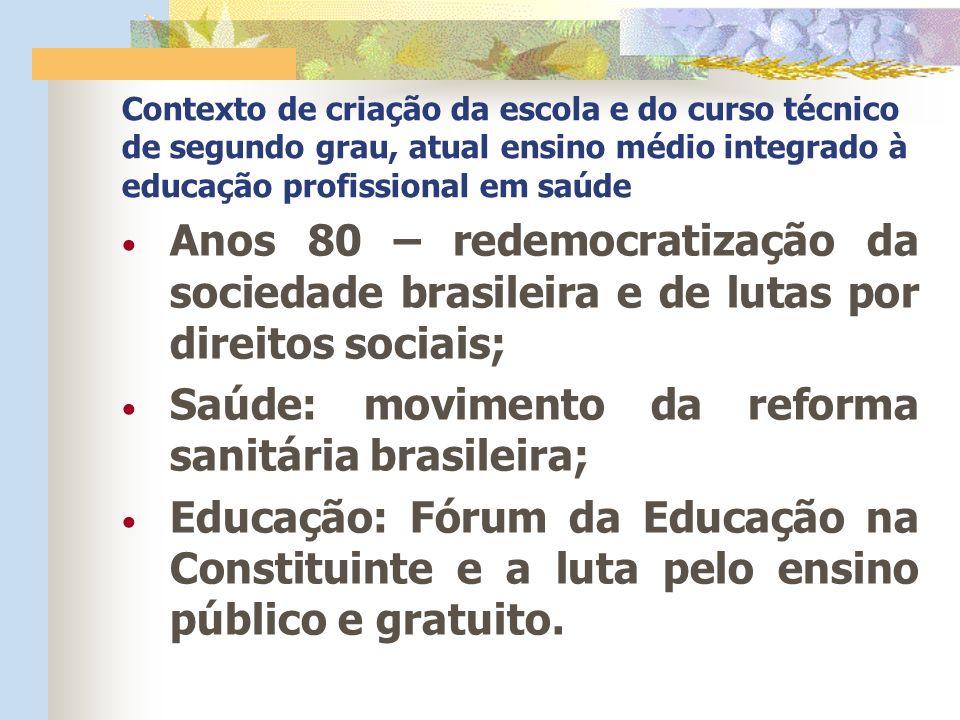 Saúde: movimento da reforma sanitária brasileira;
