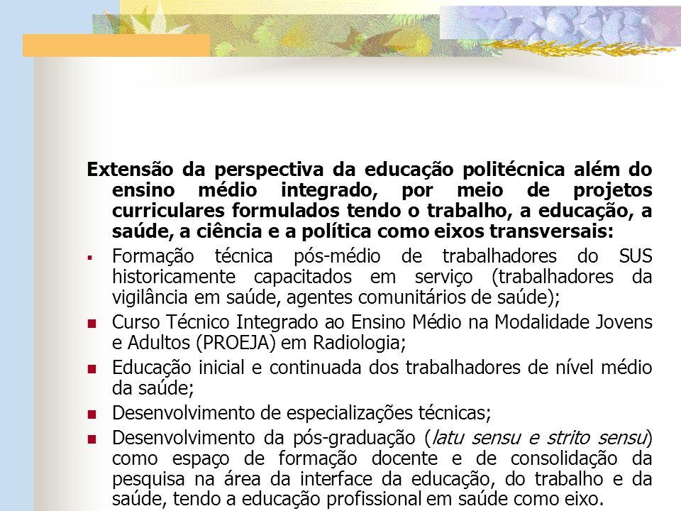 Extensão da perspectiva da educação politécnica além do ensino médio integrado, por meio de projetos curriculares formulados tendo o trabalho, a educação, a saúde, a ciência e a política como eixos transversais: