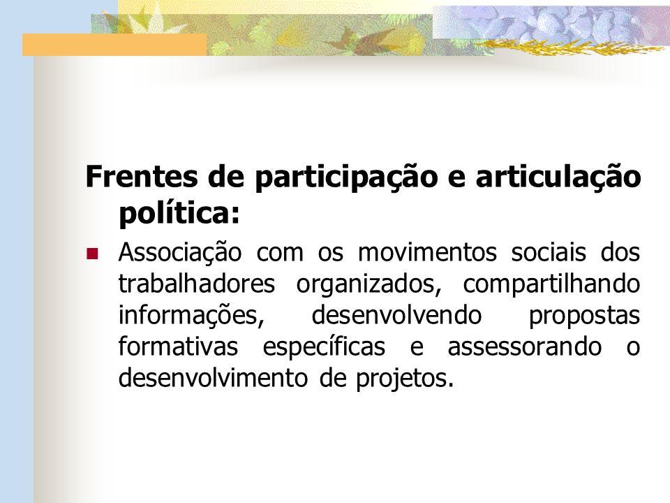 Frentes de participação e articulação política: