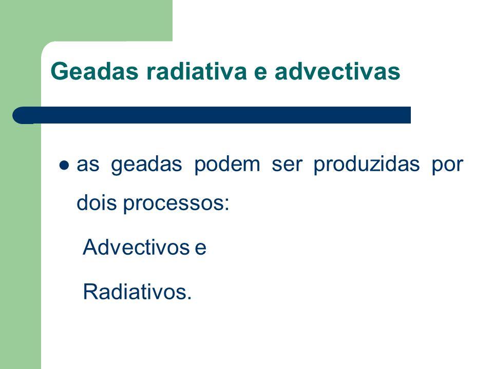 Geadas radiativa e advectivas