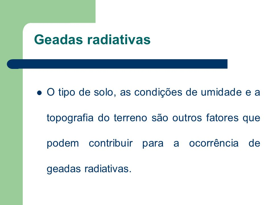Geadas radiativas