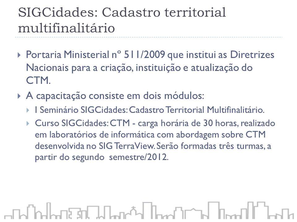 SIGCidades: Cadastro territorial multifinalitário