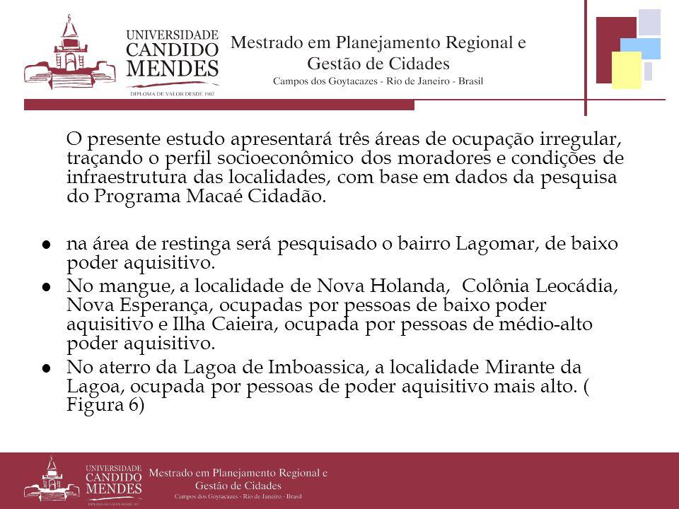 O presente estudo apresentará três áreas de ocupação irregular, traçando o perfil socioeconômico dos moradores e condições de infraestrutura das localidades, com base em dados da pesquisa do Programa Macaé Cidadão.
