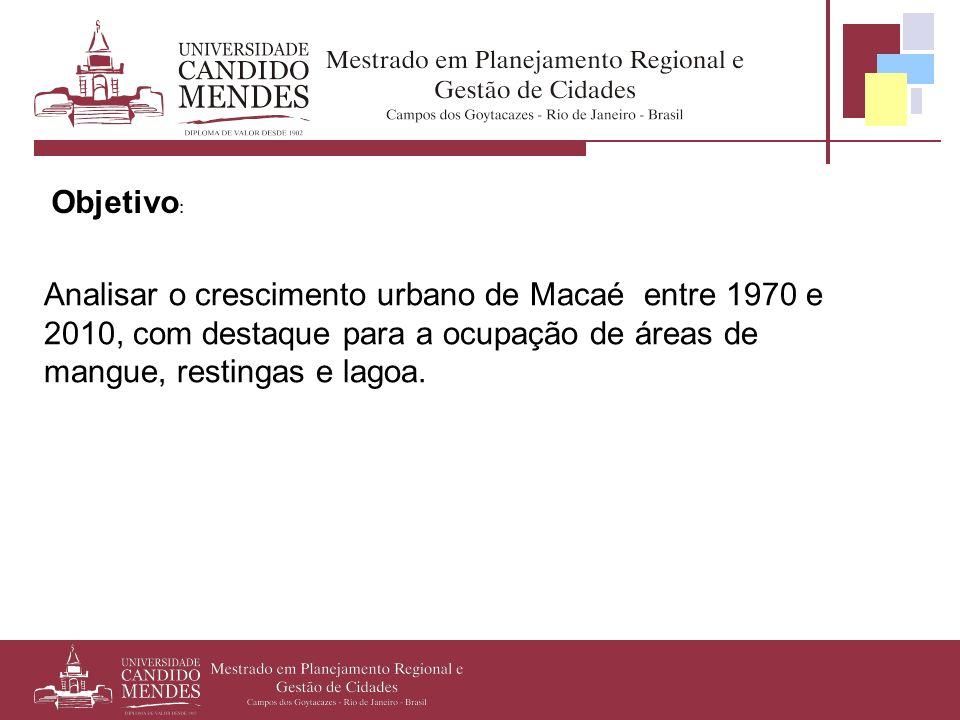 Objetivo: Analisar o crescimento urbano de Macaé entre 1970 e 2010, com destaque para a ocupação de áreas de mangue, restingas e lagoa.