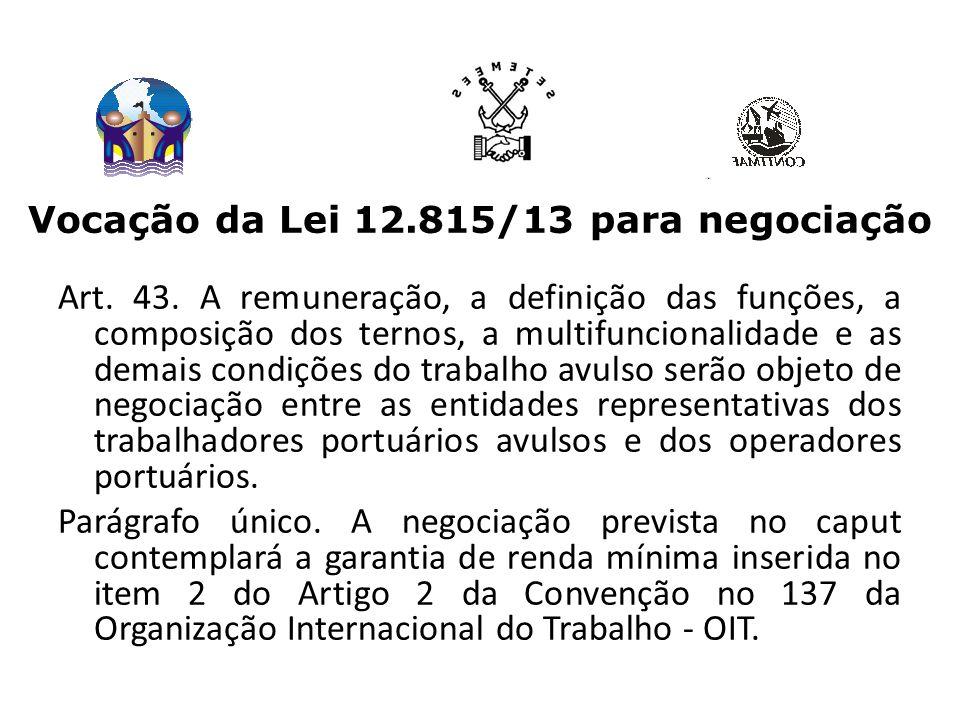 Vocação da Lei 12.815/13 para negociação