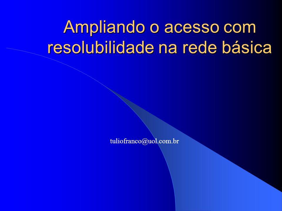 Ampliando o acesso com resolubilidade na rede básica