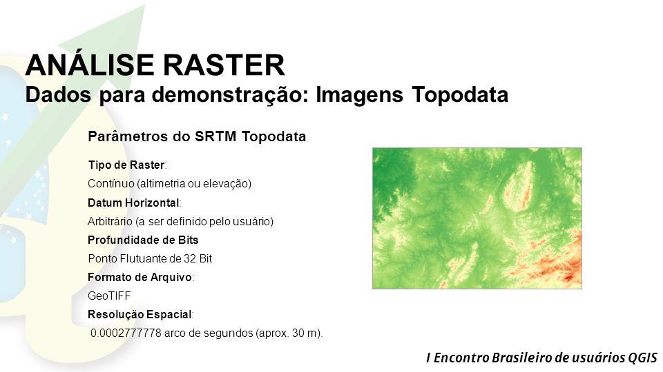 ANÁLISE RASTER Dados para demonstração: Imagens Topodata