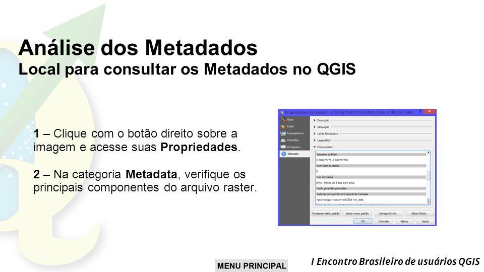 Análise dos Metadados Local para consultar os Metadados no QGIS