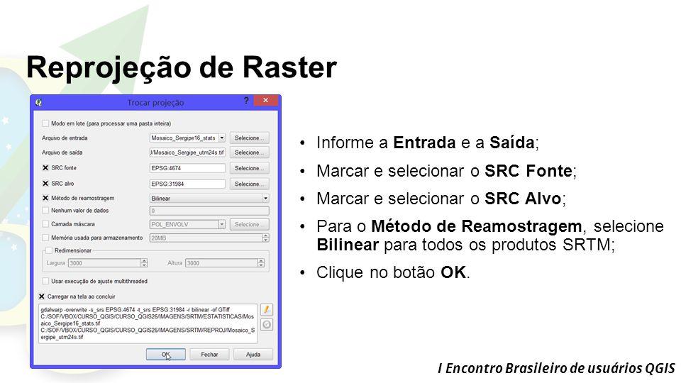 Reprojeção de Raster Informe a Entrada e a Saída;