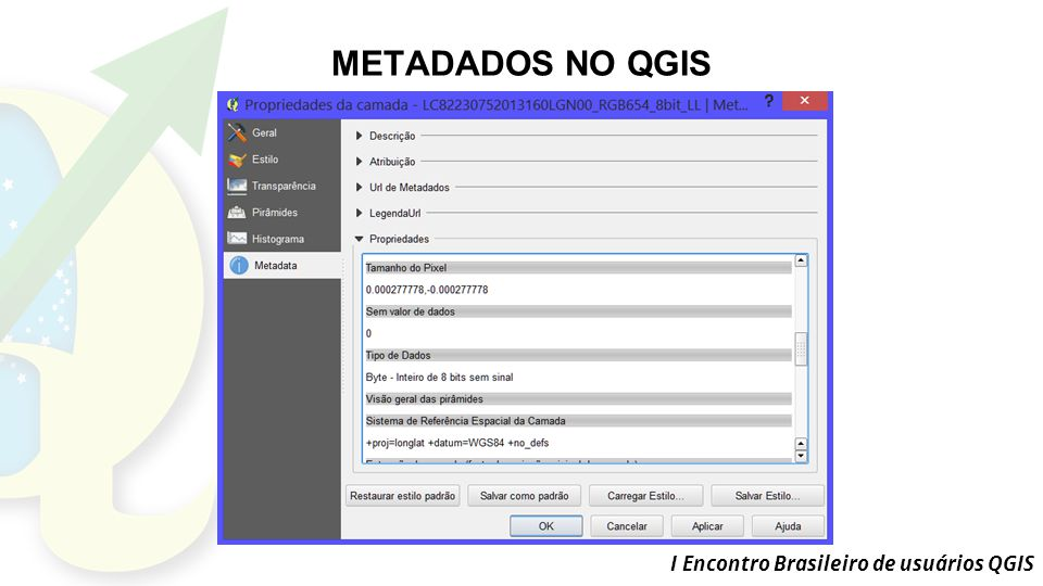 METADADOS NO QGIS I Encontro Brasileiro de usuários QGIS