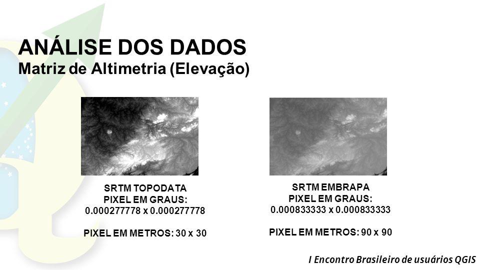ANÁLISE DOS DADOS Matriz de Altimetria (Elevação) SRTM TOPODATA