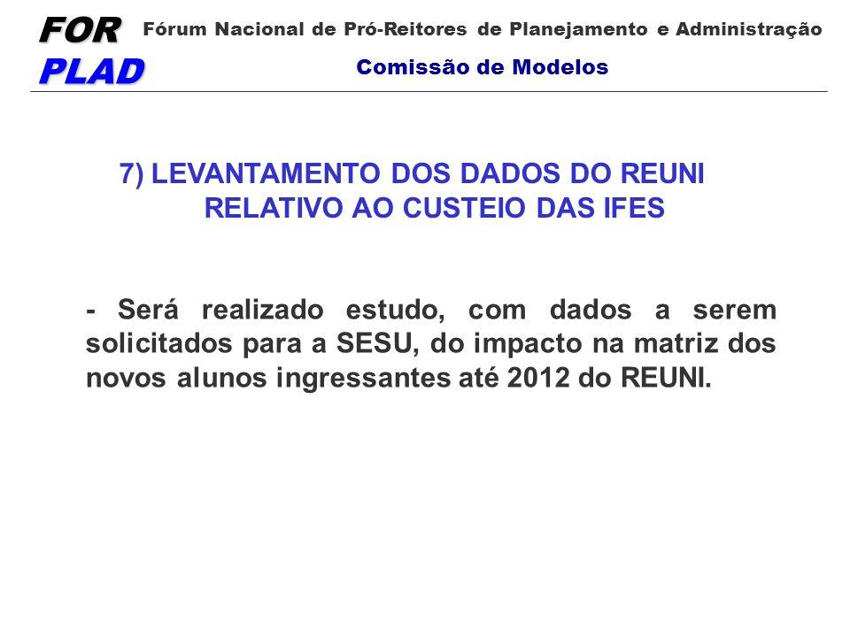 7) LEVANTAMENTO DOS DADOS DO REUNI RELATIVO AO CUSTEIO DAS IFES